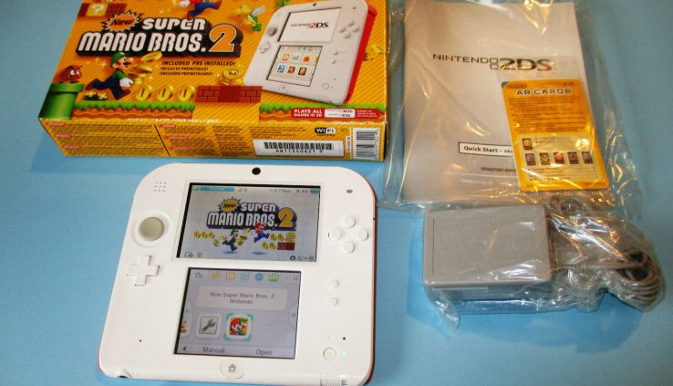 Nintendo 2DS Scarlet Red & White System Fresh Fantastic Mario Bros 2 in Box + Charger