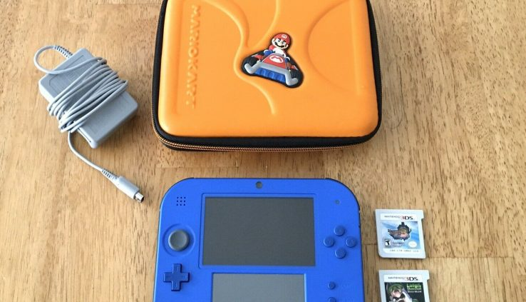 *Nintendo 2DS Broad Mario Bros 2 Console Bundle Blue Grownup Owned + Case + Video games*