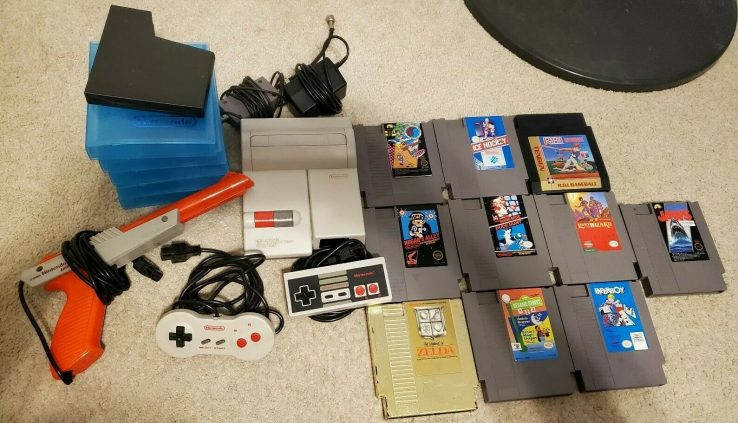 Genuine Nintendo NES Top Loader Bundle w/ 10 Video games & Dogbone (Examined & Working)