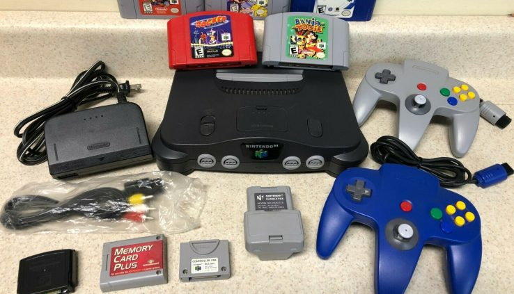 Nintendo 64 Charcoal NUS-001(USA) Console Video Sport System Bundle