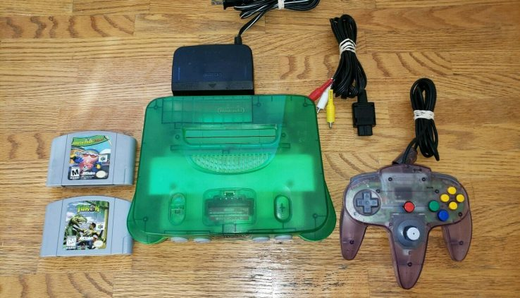 Nintendo 64 N64 Jungle Inexperienced Funtastic Console with 2 video games !!!