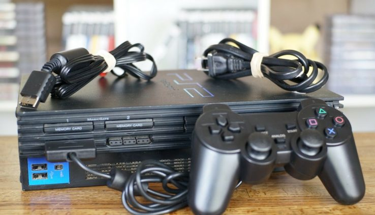 PLAYSTATION 2 SYSTEM PS2 + 1 Controller + All Cables — Correct, Examined, Assured