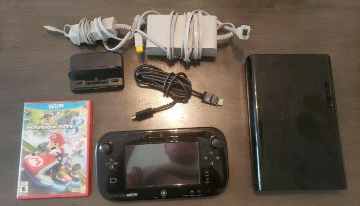 Nintendo Wii U Region 32GB Shadowy Console TESTED W Mario Kart 8 & Sensor Bar