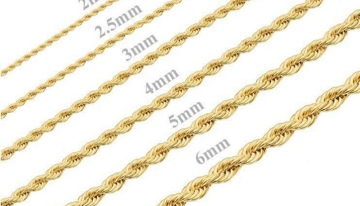 18K Gold Plated Stainless Steel Rope Chain Necklace Bracelet Males Girls folk 2mm-8mm