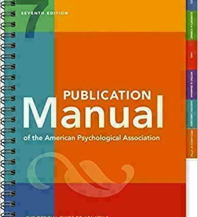 Publication Manual of the American Psychological Association seventh Ed