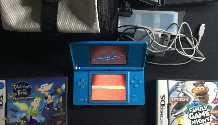 Blue Nintendo DSi Handheld System bundle With Games And Strength Provide