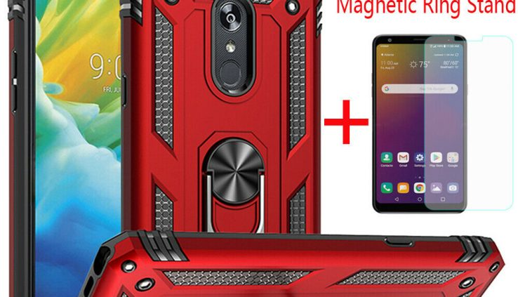 For LG Stylo 5/5 Plus Shockproof Armor Magnetic Ring Stand Case+Tempered Glass