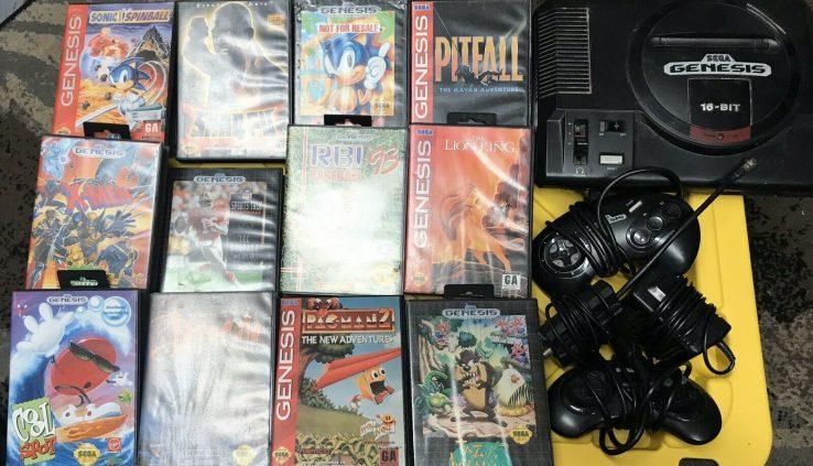 Fashioned Sega Genesis Model 1 Console Lot Entire With Cords & 12 Video games!