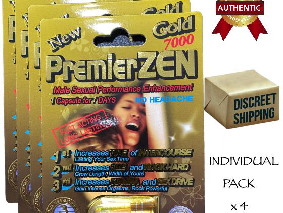 4x PremierZEN Gold 7000 Sexual Male Enhancement Supplement 100% Authentic