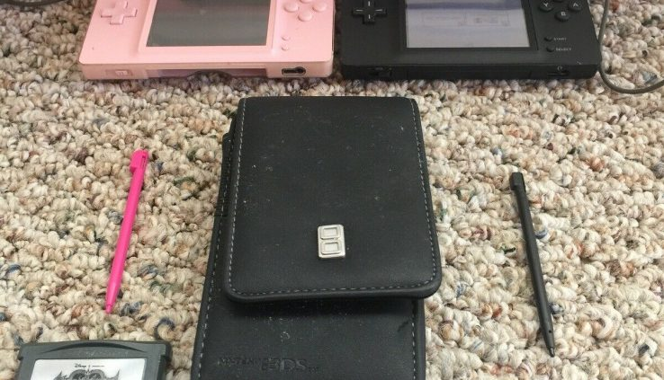 (2) intendo DS Lite Launch Model Cobalt/Murky  And Pink Handheld Programs