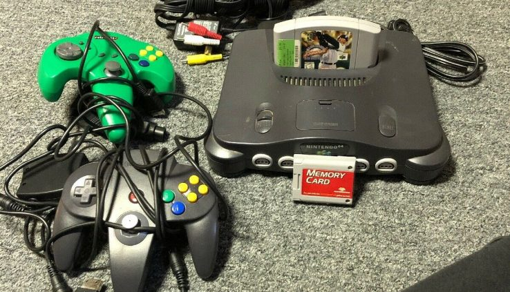 Nintendo 64 Charcoal Grey Console W/ 2 Controllers, Memory Card, And Sport