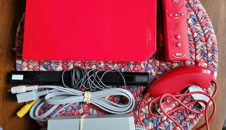Nintendo Wii Mini System Red Console RVL-201 with Controller Nunchuck Cables