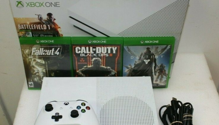 Microsoft Xbox One S (1681) 500 GB White Console With 3 Games