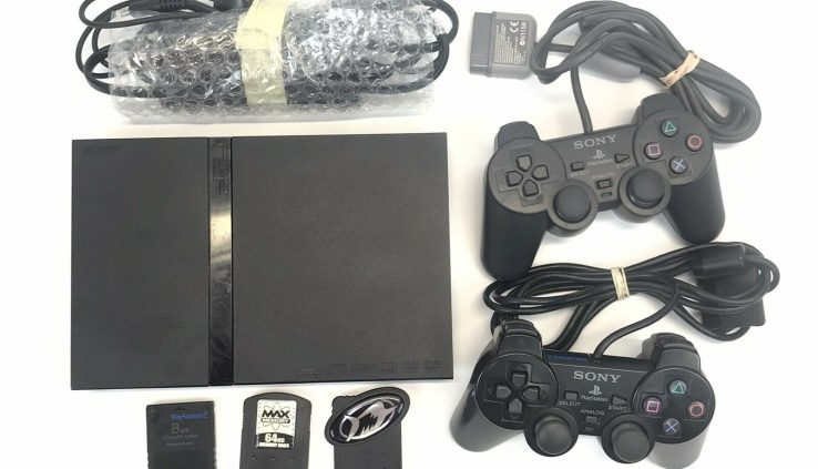 Sony PS2 Slim Unlit Game Console – Tested W/ 2 controllers &  memory playing cards 70011