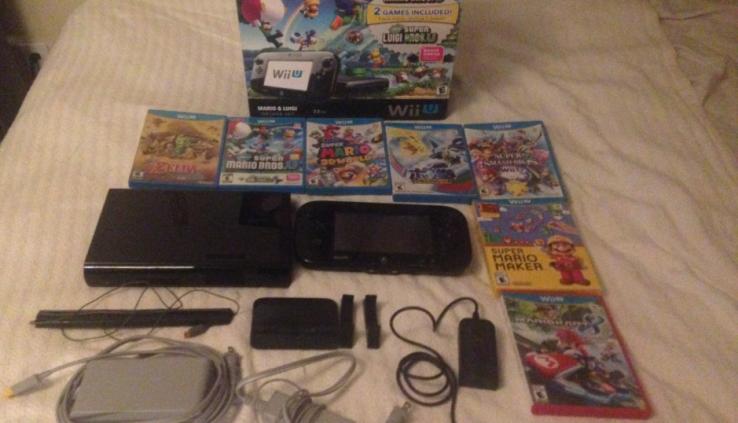 Nintendo Wii U Mario & Luigi Deluxe Space 32GB Gloomy Console With 7 Games Bundle