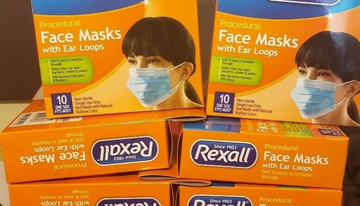 Rexall FaceMask  micro organism Security 10ct  99% Micro organism filtration FAST SHIPPING