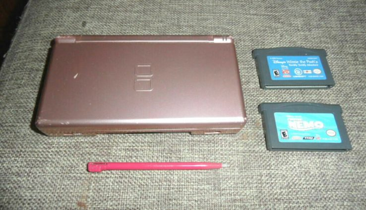 Nintendo DS Lite Sport System Console Metal Rose w/ 2 Video games