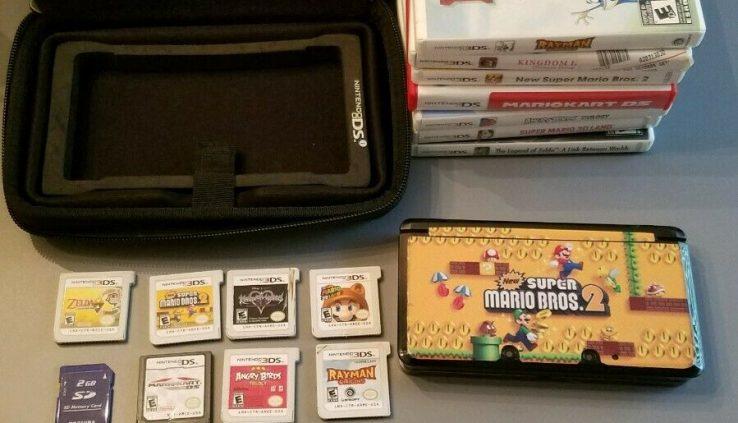 Nintendo 3DS Blk Console – with Mario Bros. 2 Skin Bundle w/ 7 Video games