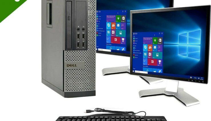 Dell Optiplex Computer 512GB SSD 16GB Ram Home windows 10 PC Twin 19″ Desktop Bundle