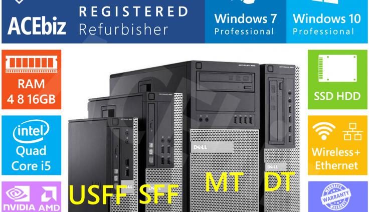 Dell Quad Core i5 Desktop Computer PC Gaming WiFi Rapid Windows 7 10 Optiplex 790