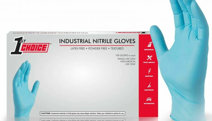100/field 1st Replacement Blue Nitrile Latex Free 3 Mil Disposable Gloves (Non Vinyl)