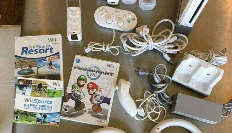 Nintendo Wii Console Mario Kart Bundle W/Remotes And Wheels And One Racket