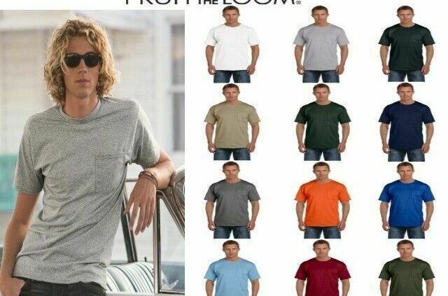Fruit of the Loom Males's 100% Cotton Pocket T-Shirt S-3XL Tee 3930P