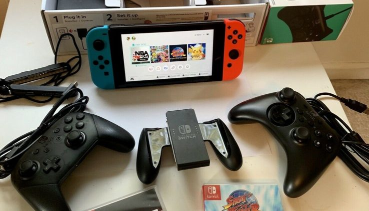 Nintendo Switch 32GB Console with Neon Crimson and Neon Blue Joy-Con + Games + Acces